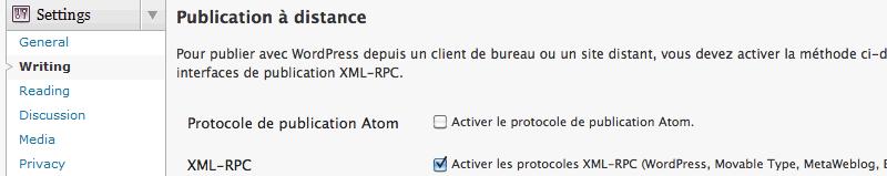Activer l'API XML-RPC sous WordPress
